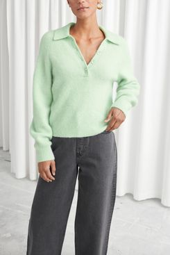 Collared Wool Blend Ribbed Sweater