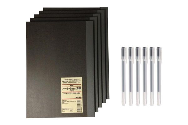 Muji Notebook A5 5mm-grid 30sheets — Pack of 5 books