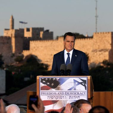 U.S. Republican presidential candidate, former Massachusetts Gov. Mitt Romney delivers a speech outside the Old City on July 29, 2012 in Jerusalem, Israel. Romney stated that he backs Israel's right to defend itself against the threat of a nuclear Iran. He is in Israel as part of a three-nation foreign diplomatic tour which also includes visits to Poland and Great Britain.
