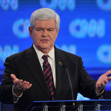 GOP presidential candidate former House Speaker Newt Gingrich speaks during the Florida Republican Presidential debate January 26, 2012 at the University of North Florida in Jacksonville, Florida.