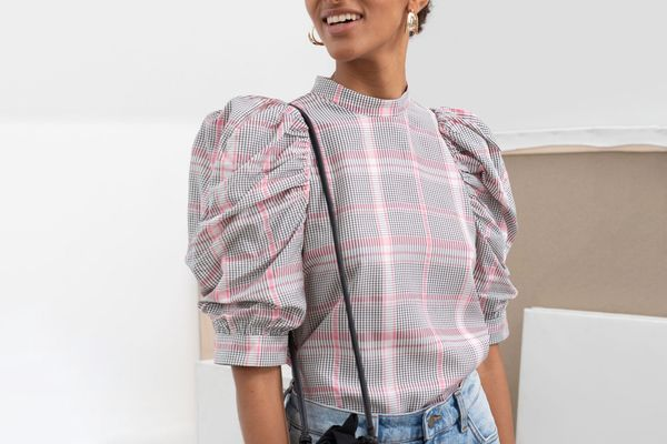 & Other Stories Puff Shoulder Chiffon Blouse