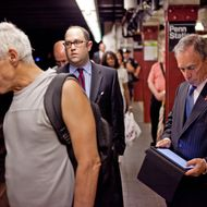 Mayo Michael  Bloomberg used his iPad while waiting for the E train back to City Hall from Penn Station