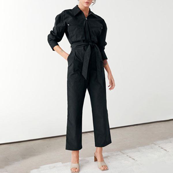 & Other Stories Cotton Blend Utility Jumpsuit