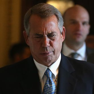 House Speaker John Boehner (R-OH) walks through the House side of the US Capitol February 27, 2015 in Washington, DC. Later today the House will vote on a three week continuing resolution for funding the Department of Homeland Security.
