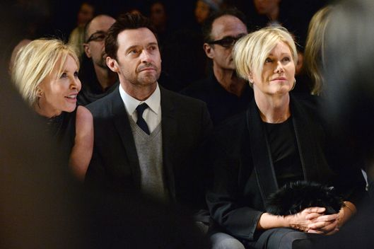 NEW YORK, NY - FEBRUARY 10:  Trudie Styler, Hugh Jackman and Deborra-Lee Furness attend the Donna Karan New York 30th Anniversary fashion show during Mercedes-Benz Fashion Week Fall 2014 on February 10, 2014 in New York City.  (Photo by Larry Busacca/Getty Images for Mercedes-Benz Fashion Week)