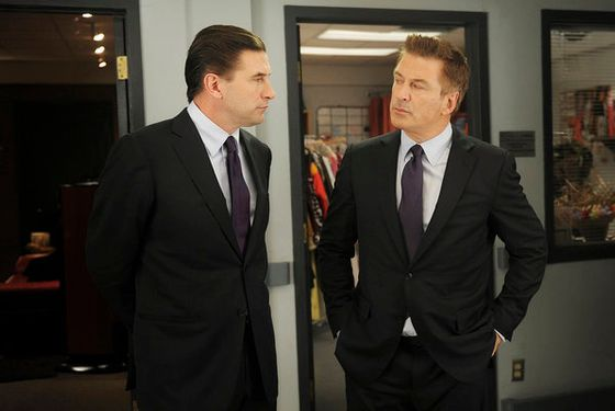 "30 ROCK -- ""Kidnapped by Danger"" Episode 614 -- Pictured: (l-r) Alec Baldwin as Jack Donaghy, William Baldwin as Lance -- (Photo by: Ali Golds"