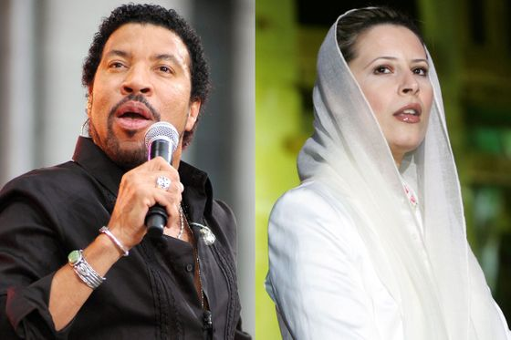 <b>Criminal ties: </b>In 2006, the Qaddafi clan brought Lionel Richie to Libya to perform at a celebration marking the twentieth anniversary of a U.S. attack on Tripoli and Benghazi, <a><u>staged in front of the dictator's bombed-out compound</u></a>, which had been preserved as a memorial. He was toasted by Aisha Qaddafi, who was rumored to have gotten married around the same time. <b>Forgiven?</b> Warily. Richie has never publicly addressed the concert, and his slight resemblance to Muammar makes the connection hard to forget.