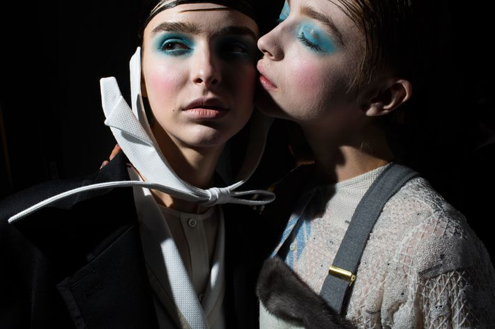Backstage at Thom Browne.