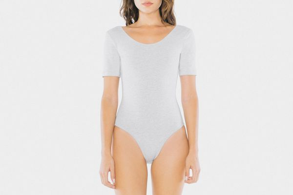 American Apparel Cotton Spandex Short Sleeve Scoop Back Bodysuit