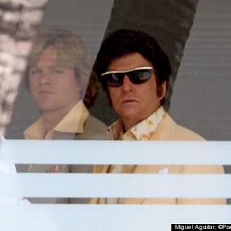 81721, LOS ANGELES, CALIFORNIA - Monday July 30, 2012. Michael Douglas gets into character as Liberace while Matt Damon plays his alleged gay lover on the set of