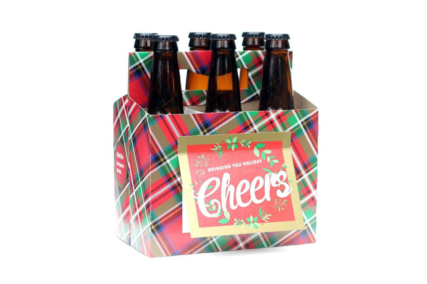 Holiday Beer Lovers Gifts — 6 Pack Beer Carrier Greeting Cards (Set of 4) in Holiday Plaid Design