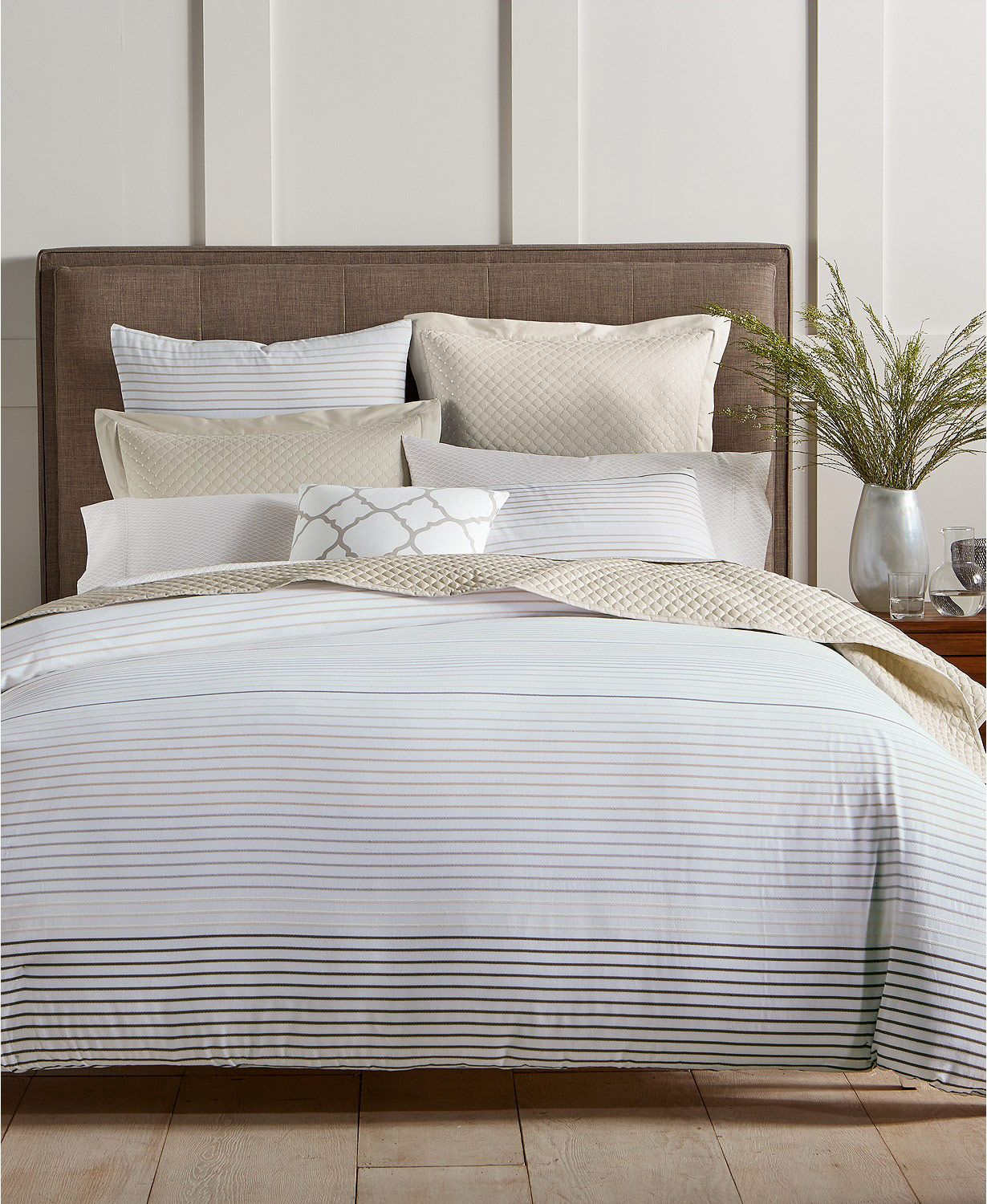 Charter Club Damask Designs Woven Stripe 300-Thread Count 3-Pc. Full/Queen Comforter Set