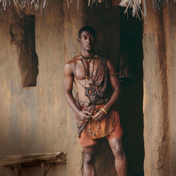 Malachi Kirby as Kunta Kinte in <em>Roots</em>.