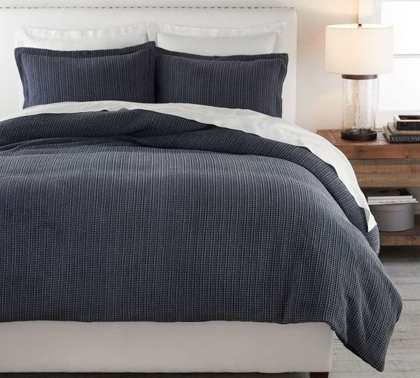 Pottery Barn Honeycomb Cotton Duvet Cover, Queen