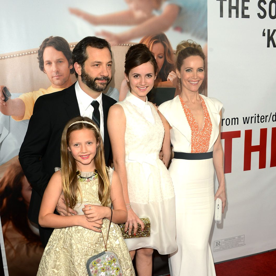 Actors Leslie Mann and Judd Apatow arrive with daughters Maude Apatow and Iris Apatow at the premiere of Universal Pictures' 'This Is 40' at Grauman's Chinese Theatre on December 12, 2012 in Hollywood, California.