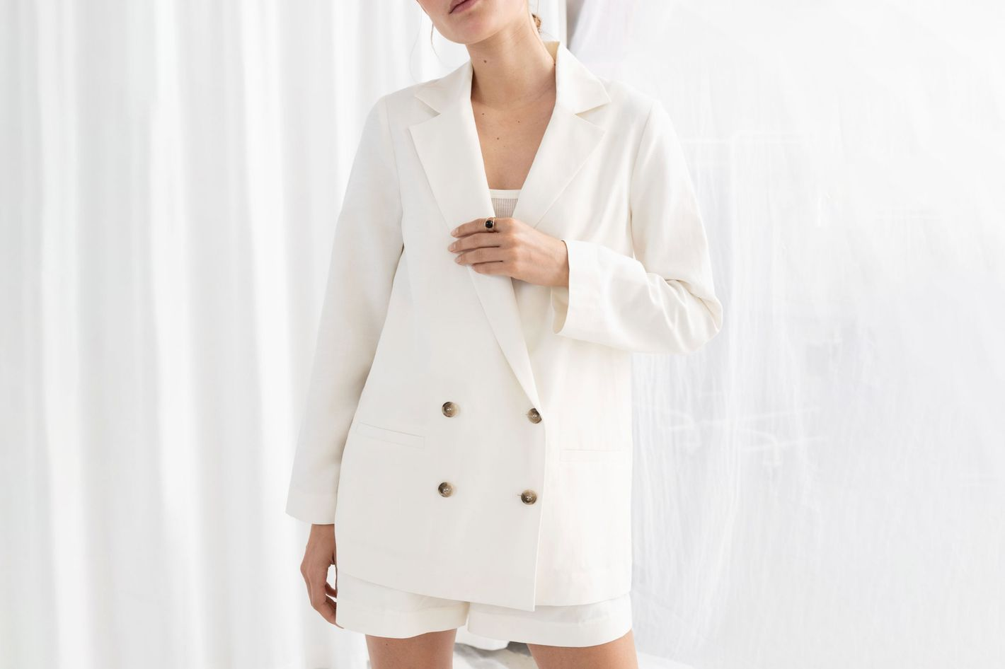 & Other Stories Double Breasted Linen Blend Blazer