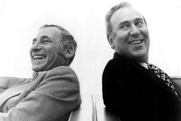"Actors Mel Brooks and Carl Reiner pose for a publicity portrait for their program ""2000 And Thirteen Year Old Man"" in 1974."