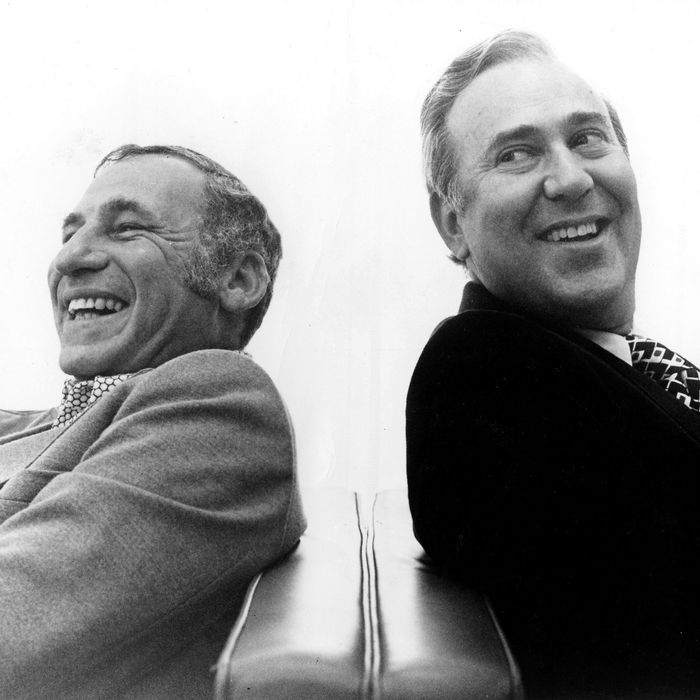 Actors Mel Brooks and Carl Reiner pose for a publicity portrait for their program