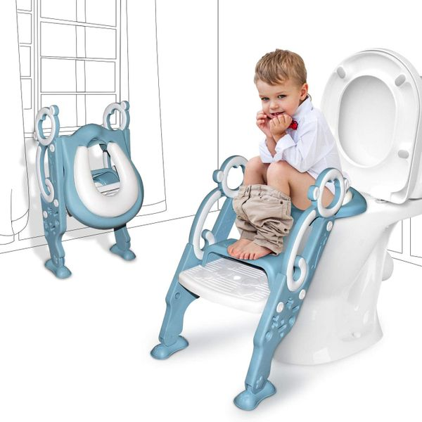 GrowthPic Toddler Toilet Seat with Step Stool Ladder