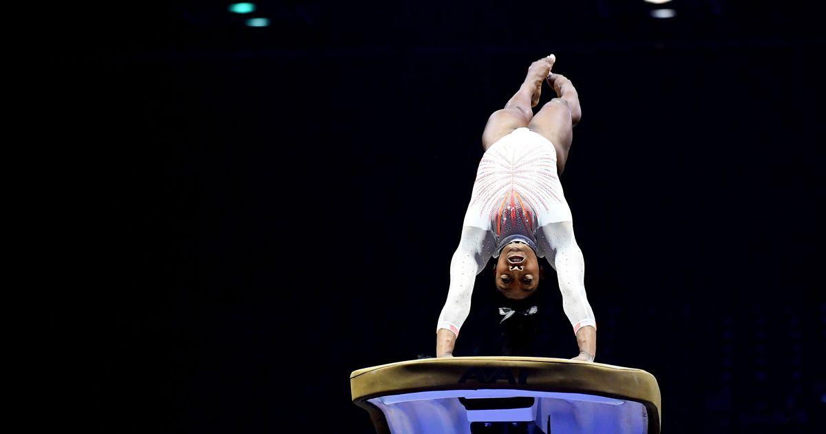 Simone Biles Lands Yurchenko Double Pike on Vault: VIDEO