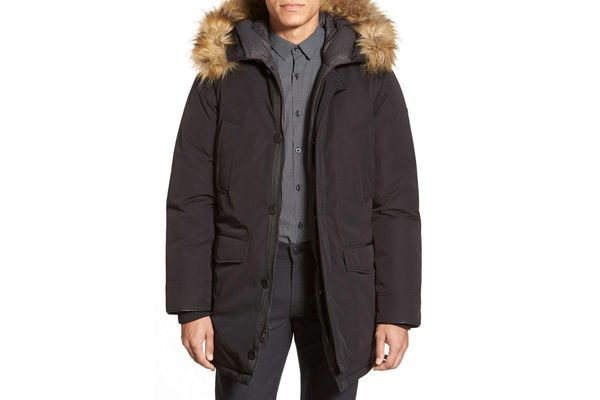 Vince Camuto Down & Feather Parka With Faux Fur Trim