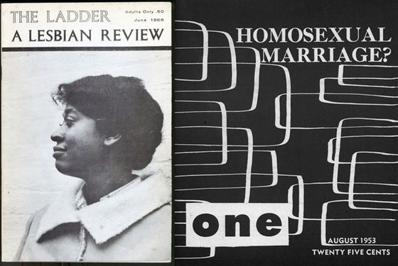 <i>The Ladder</i>, a publication of Daughters of Bilitis, the first lesbian-rights organization in the United States, and <i>One: The Homosexual Magazine</i> both figure prominently in gay-civil-rights history. In the landmark case <i>One, Inc. v. Olesen</i>, the United States Supreme Court rules in favor of the First Amendment rights of <i>One</i>. The suit was filed after the U.S. Postal Service and FBI declared the magazine obscene material, and it marks the first time the United States Supreme Court rules in favor of homosexuals.