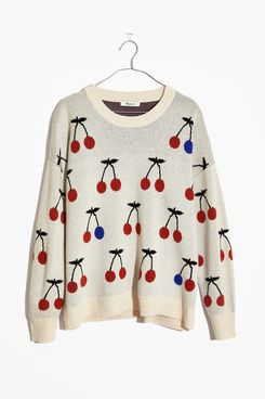 Madewell Cherry Jacquard Pullover Sweater