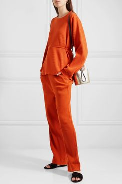 Baserange Gita Ribbed Organic Cotton-fleece Pants