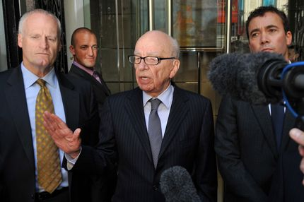 "News Corporation Chief Rupert Murdoch (C) speaks to the media after meeting the family of murdered British school girl Milly Dowler in London, on July 15, 2011. Rupert Murdoch will use advertisements in British national newspapers on Saturday to apologise for ""serious wrongdoing"" by his News of the World tabloid, News International said. AFP PHOTO/BEN STANSALL (Photo credit should read BEN STANSALL/AFP/Getty Images)"