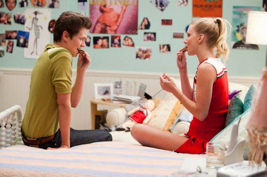 "GLEE: Brittany (Heather Morris, R) and new student Rory (guest star ""The Glee Project"" winner, Damian McGinty, L) share some magic in the ""Pot O' Gold"" episode of GLEE airing Tuesday, Nov. 1 (8:00-9:00 PM ET/PT) on FOX. ©2011 Fox Broadcasting Co. Cr: Adam Rose/FOX"