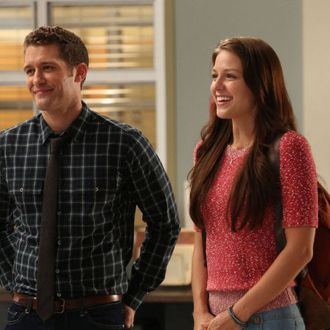 GLEE: Will (Matthew Morrison, L) introduces a Marley (Melissa Benoist, R) as a new member of the glee club in