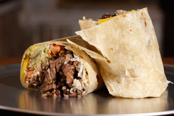 An assembled build-your-own burrito.