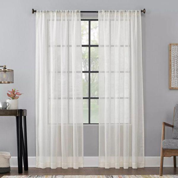 Scott Living Celeste Textured Linen Blend Sheer Curtains
