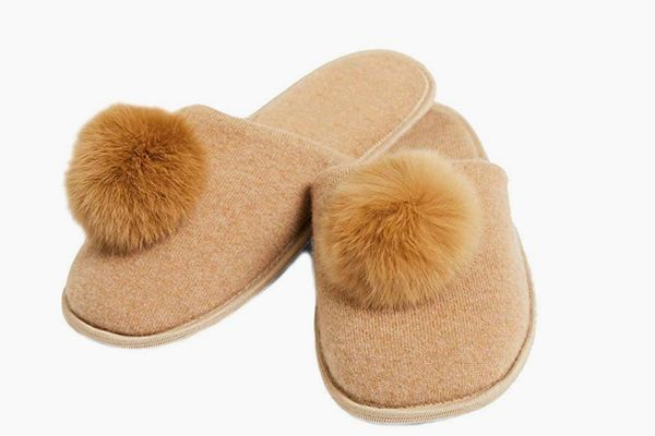 Cashmeren Real Fur Pom-Pom Slippers