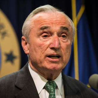 New York Police Commissioner Bill Bratton speaks at a press conference about a new community prevention program for heroin overdoses in which New York police officers will carry kits with Naloxone, an heroin antidote that can reverse the effects of an opioid overdose, on May 27, 2014 in New York City.