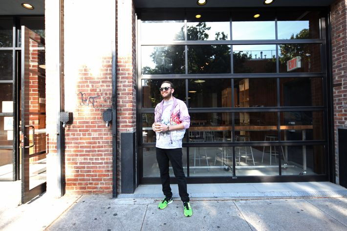 Selby outside Blue Bottle Coffee in Williamsburg, a favorite haunt and <em>Edible Selby</em> subject.