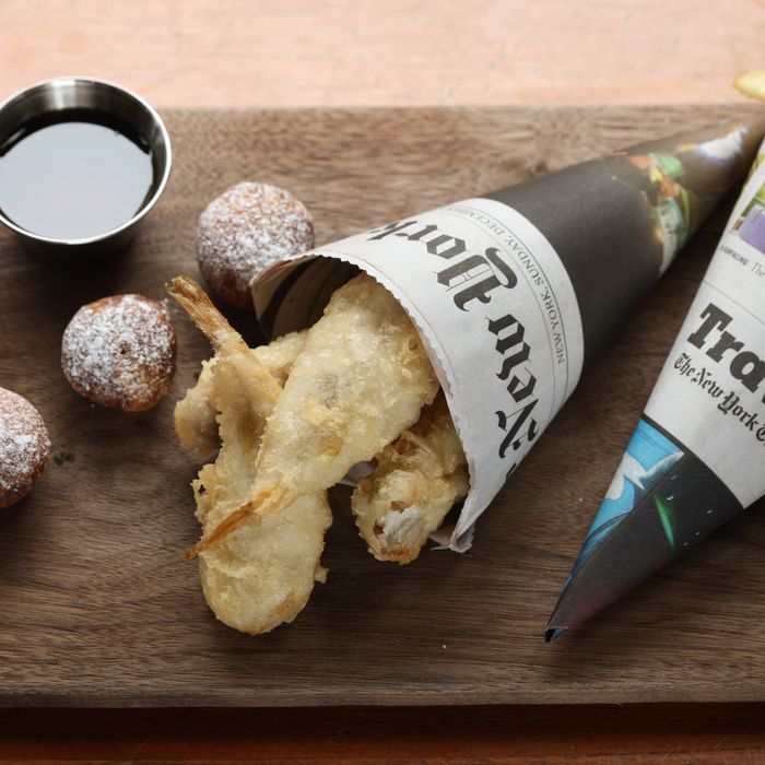 Fish 'n' Chips: battered blowfish tails, doughnut holes, maple-malt vinegar, and dill-pickle aioli.