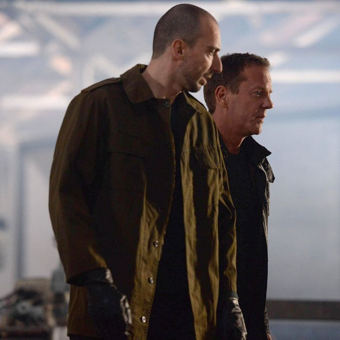 """24: LIVE ANOTHER DAY: Jack (Kiefer Sutherland, R) and Belcheck (guest star Branko Tomovic, L) decide their next move in the """"5:00 PM - 6:00 PM"""" episode of 24: LIVE ANOTHER DAY airing Monday, June 9 (9:00-10:00 PM ET/PT) on FOX. ©2014 Fox Broadcasting Co. Cr: Daniel Smith/FOX"""