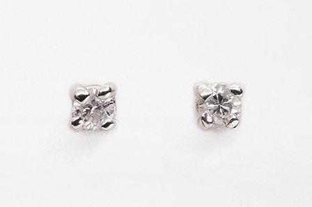 Julien David White Diamond Short Pierce Studs