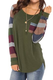 Hubery Round Neck Long Sleeve Color Block Tunic Shirt