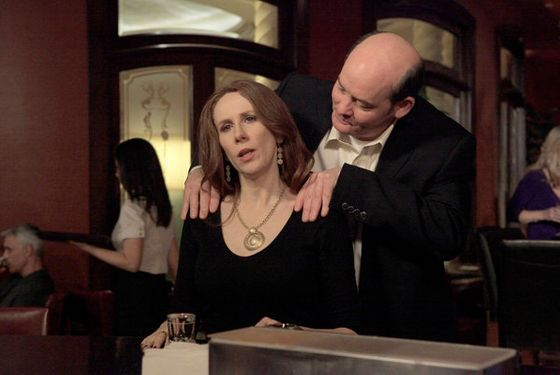 "THE OFFICE -- ""After Hours"" Episode 816 -- Pictured: (l-r) Catherine Tate as Nellie Bertrum, David Koechner as Todd Packer -- Photo by: Byron Cohen/NBC"