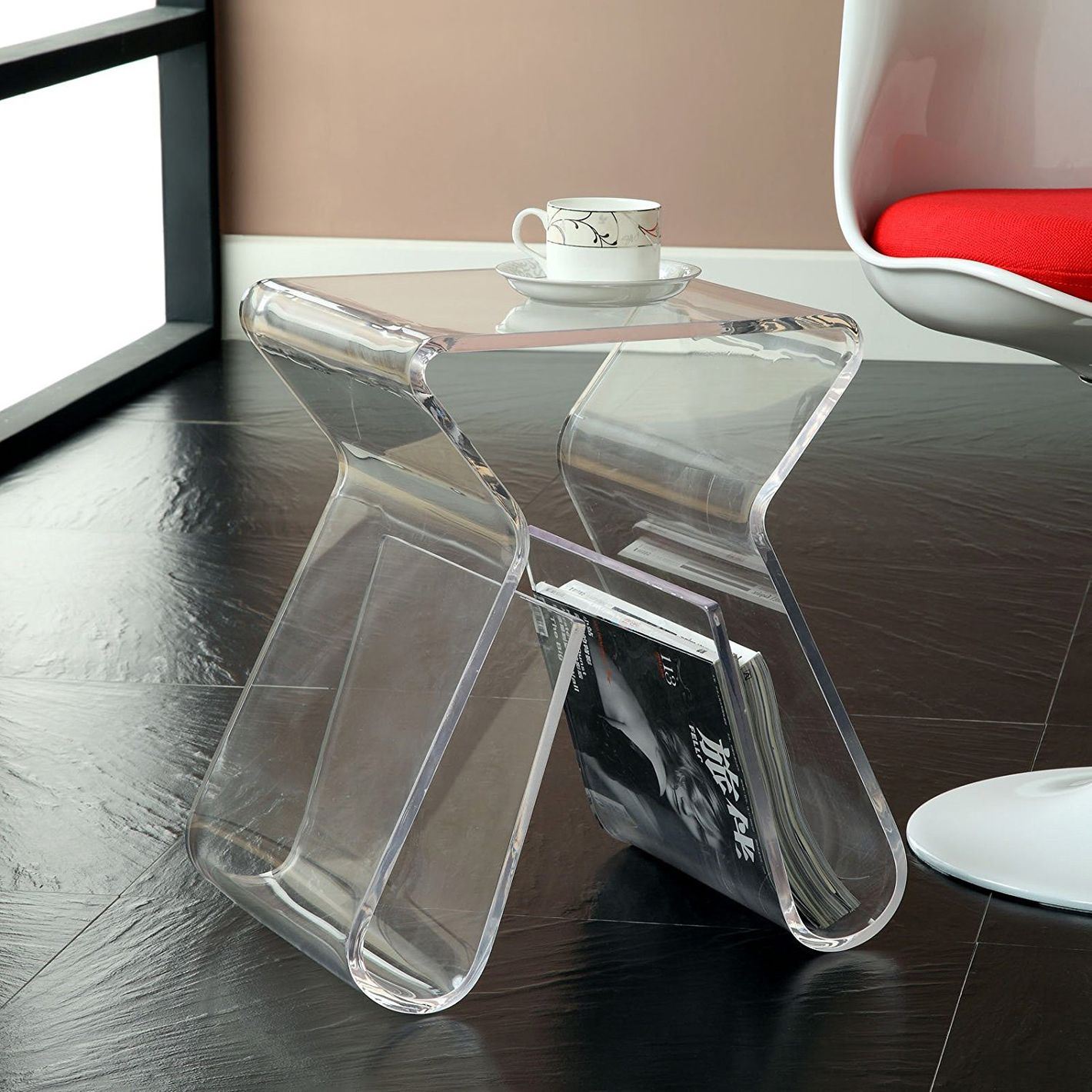 Modway Acrylic End Table with Magazine Rack