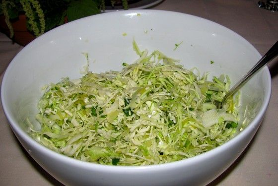 With coriander and honey-vinegar dressing. As this salad looked so contemporary, we questioned Dalby as to its authenticity. He said this would absolutely be a typical Roman salad served during the Empire's reign. However, he did squash the notion of intentional purging after a meal as a base anomaly, more than a common practice.<br>
