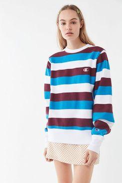 Champion Oversized Striped Crew Neck Sweatshirt