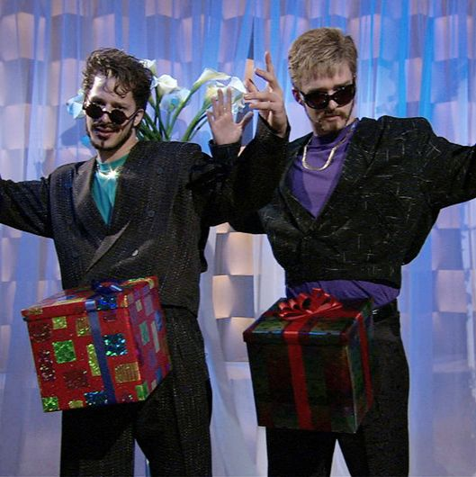 "SATURDAY NIGHT LIVE -- Episode 9 -- Aired 12/16/2006 -- Pictured: (l-r) Andy Samberg as guy, Justin timberlake as guy during ""Dick in a Box"" skit on December 16, 2006 -- Photo by: Dana Edelson/NBCU Photo Bank"