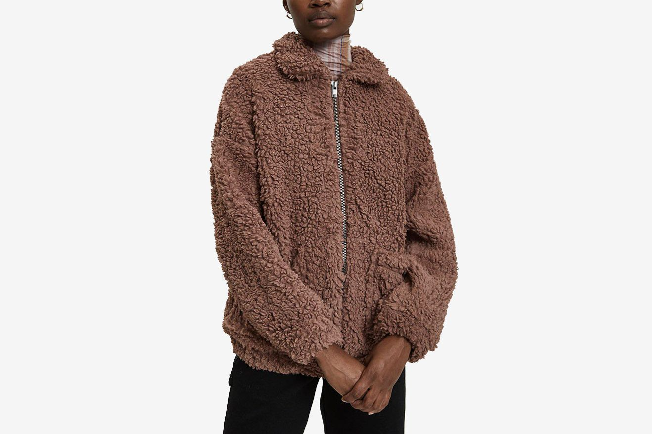 Farrow Vivienne Faux Sheepskin Jacket in Mauve Taupe