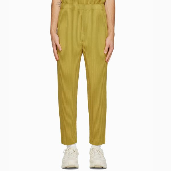 Homme Plissé Issey Miyake Yellow Colorful Pleats Trousers
