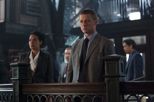 "GOTHAM: An unwelcome visitor searches for Detective James Gordon (Ben McKenzie, R) at the GCPD in the ""Penguin's Umbrella"" episode of GOTHAM airing Monday, Nov. 3 (8:00-9:00 PM ET/PT) on FOX. Also pictured: Zabryna Guevara. ?2014 Fox Broadcasting Co. Cr: Jessica Miglio/FOX"