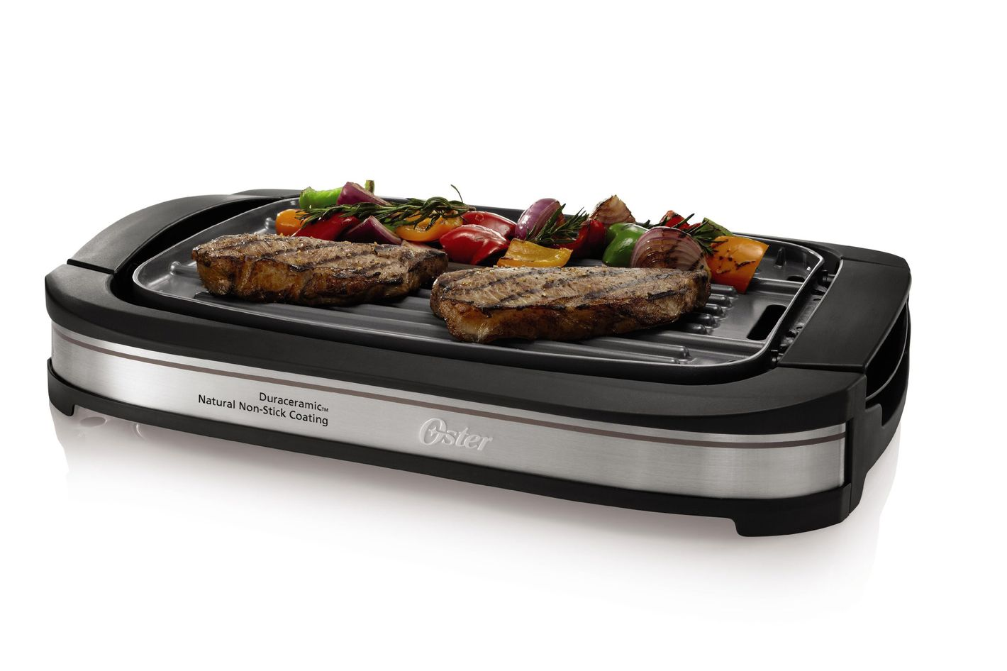 Oster CKSTGR3007-ECO DuraCeramic Reversible Grill and Griddle, Black