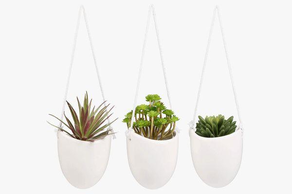 MyGift Modern Ceramic Hanging Planters